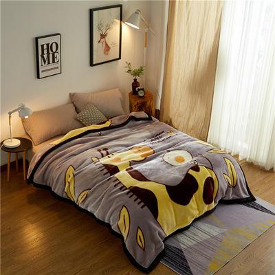 2019新款-拉舍尔云毯 200*230cm 长颈鹿灰