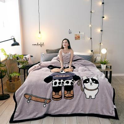 2019新款-拉舍爾云毯 雙層150*200cm 滑板熊