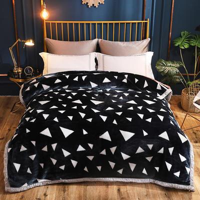 2019新款超柔拉舍尔毛毯 150*200cm  4斤 黑三角