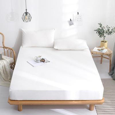 2019新款-水晶绒薄款床笠(素色床笠) 48*74 枕套一对 时尚白色