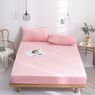 2019新款-水晶绒薄款床笠(素色床笠) 48*74 枕套一对 时尚粉色