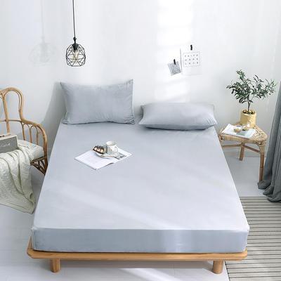 2019新款-水晶绒薄款床笠(素色床笠) 48*74 枕套一对 时尚灰色