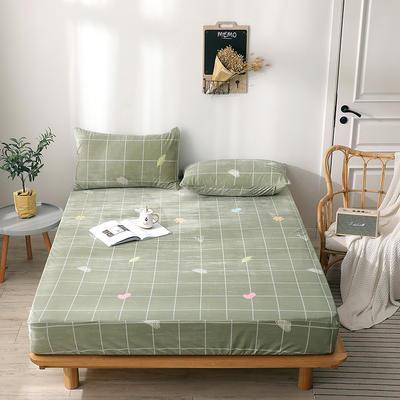 2019新款-水晶绒薄款床笠(印花床笠) 48*74枕套一对 格韵绿