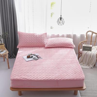 2019新款-水晶绒绗缝夹棉床笠 1.5*2.0*25 夹棉款粉色