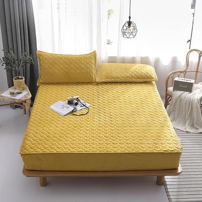 2019新款-水晶绒绗缝夹棉床笠 1.5*2.0*25 夹棉款黄色
