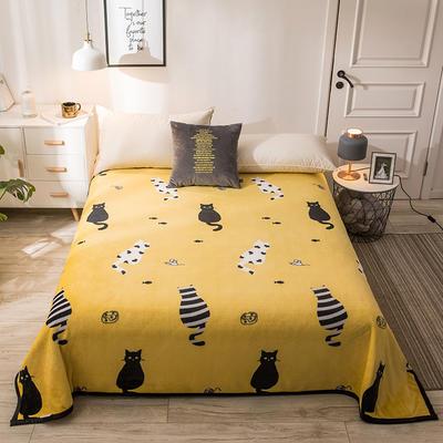 300克云貂绒毛毯 120*200cm 萌宠猫-黄