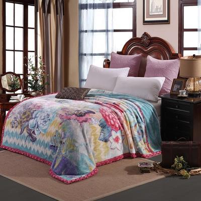京宇毯业 超柔拉舍尔毛毯 经典款双层毛毯 150*200 5斤 花田印象