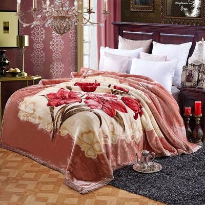 超柔拉舍尔毛毯 经典款双层毛毯 150*200 5斤 爱恋百合
