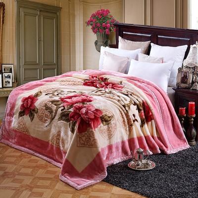 超柔拉舍尔毛毯 经典款双层毛毯 150*200 5斤 红粉世家