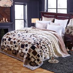 京宇毯业 超柔拉舍尔毛毯 经典款双层毛毯 150*200 5斤 经典格子