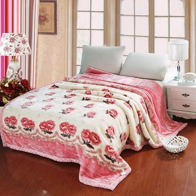 超柔拉舍尔毛毯 经典款双层毛毯 150*200 5斤 心花怒放