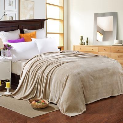 200克法莱绒毯 加厚珊瑚绒毛毯 120*200 素色驼色