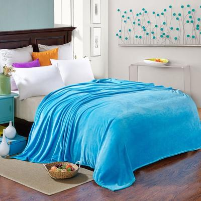 200克法莱绒毯 加厚珊瑚绒毛毯 120*200 素色天蓝