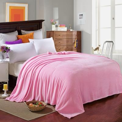 200克法莱绒毯 加厚珊瑚绒毛毯 120*200 素色粉色