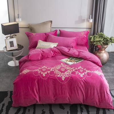 2019新款欧洲宫廷刺绣系列四件套 1.5m(5英尺)床 玫红