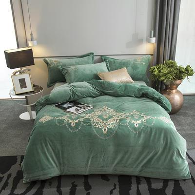 2019新款欧洲宫廷刺绣系列四件套 1.5m(5英尺)床 水绿