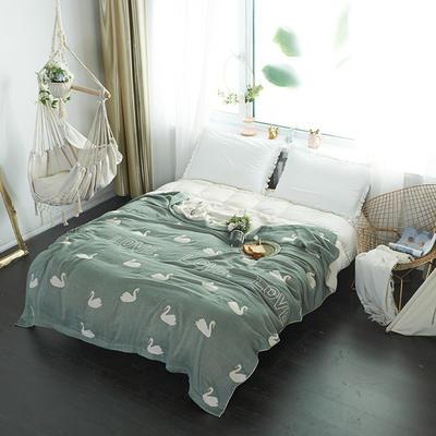 2019新款-四层纱布夏被-花草卡通 150*200cm 小天鹅-绿