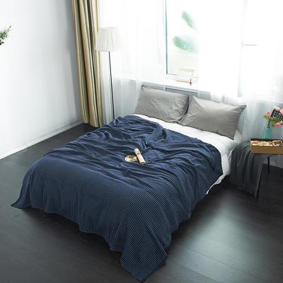 2019新款四层纱布夏被-条格 150*200cm 鱼刺纹-蓝