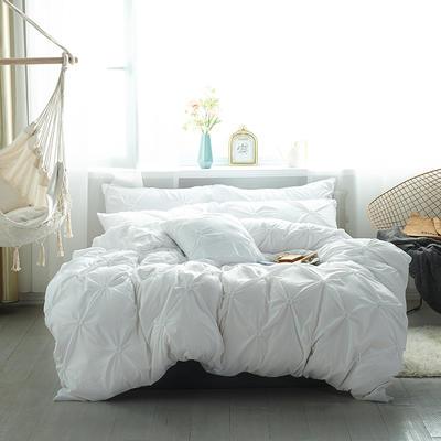 2019新款水洗棉四件套--小清新系列 1.2m床三件套 青色瞳--白
