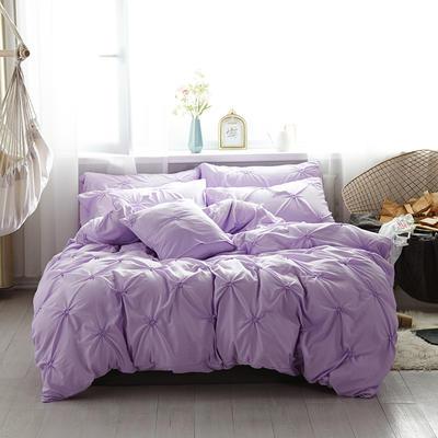 2019新款水洗棉四件套--小清新系列 1.2m床三件套 青色瞳--紫