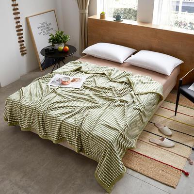 2019新款310g无印风法莱绒毛毯 180*200 方格-绿