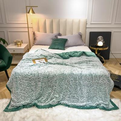 2019新款银狐绒被套毛毯两用毯 150*210cm 墨绿