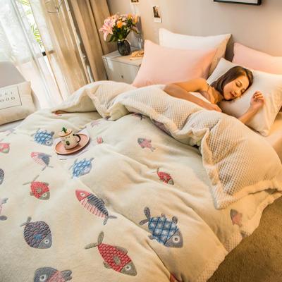 2019新款贝贝绒被套毯子毛毯 150*210cm 鱼多多