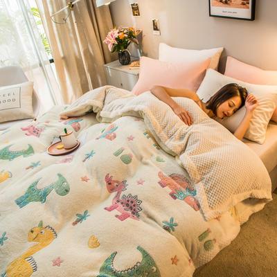2019新款贝贝绒被套毯子毛毯 150*210cm 小恐龙