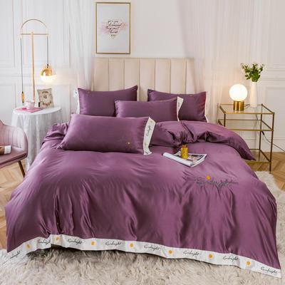 2020新款轻奢刺绣系列—四件套 1.5m床单款四件套 妖艳紫