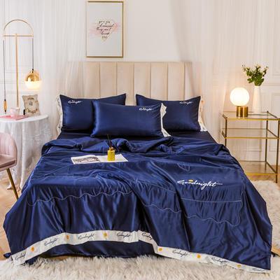 2020新款水洗真丝轻奢刺绣系列—夏被 150x200cm 深蓝色