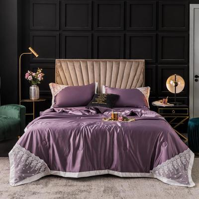 2020新款蕾丝系列水洗真丝夏被四件套 被子200X230cm(1.5m床单款) 妖艳紫