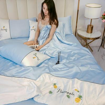 2020新款拼色水洗真丝刺绣系列—夏被 150x200cm 菠萝-浅蓝