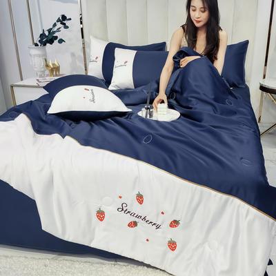 2020新款拼色水洗真丝刺绣系列—夏被 150x200cm 草莓-藏蓝