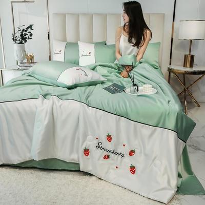 2020新款拼色水洗真丝刺绣系列—夏被 150x200cm 草莓-水绿