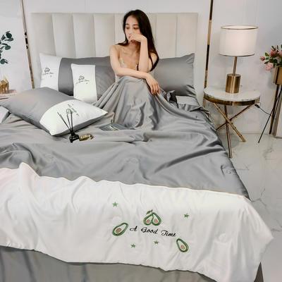2020新款拼色水洗真丝刺绣系列—夏被 150x200cm 牛油果-灰咖