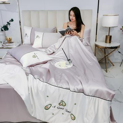 2020新款拼色水洗真丝刺绣系列—夏被 150x200cm 牛油果-浅紫