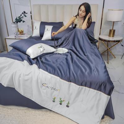 2020新款拼色水洗真丝刺绣系列—夏被 150x200cm 仙人掌-藏蓝