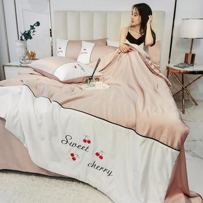 2020新款拼色水洗真丝刺绣系列—夏被 150x200cm 樱桃-浅粉