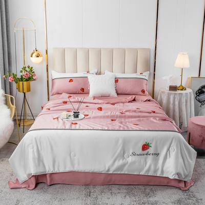 2020新款水洗真丝数码印花拼色-夏被四件套 被子200X230cm(1.5m床单款) 草莓之恋