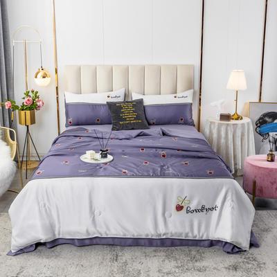 2020新款水洗真丝数码印花拼色-夏被四件套 被子200X230cm(1.5m床单款) 心动-紫
