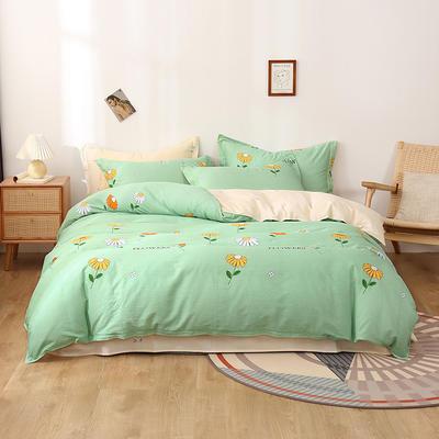 2020新款全棉印花单品被套 180x220cm 小雏菊-绿