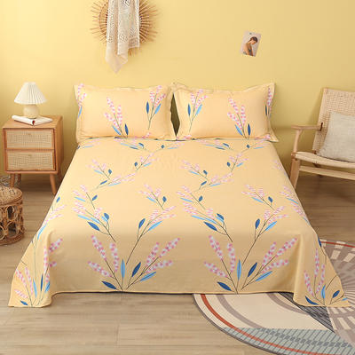 2020新款全棉印花单品床单 160cmx230cm 爱在花季-黄