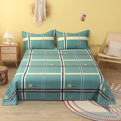 2020新款全棉印花单品床单 160cmx230cm 欢乐格-绿