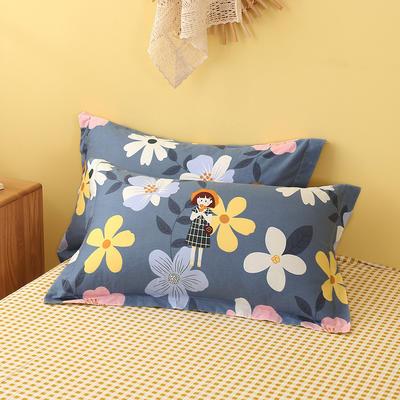 2020新款全棉印花单品枕套 48cmX74cm/对 爱丽丝-蓝