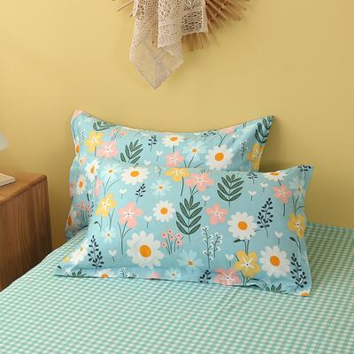 2020新款全棉印花单品枕套 48cmX74cm/对 花仙子-绿