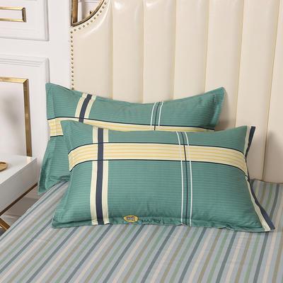 2020新款全棉印花单品枕套 48cmX74cm/对 欢乐格-绿