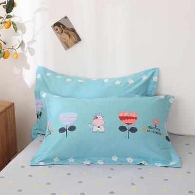 2020新款全棉印花单品枕套 48cmX74cm/对 美如花-蓝