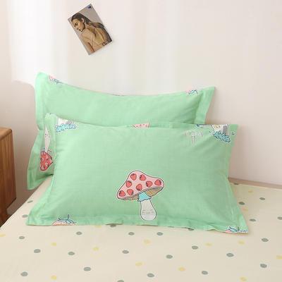 2020新款全棉印花单品枕套 48cmX74cm/对 蘑菇精灵-绿