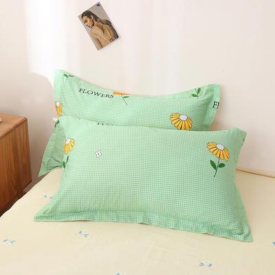 2020新款全棉印花单品枕套 48cmX74cm/对 小雏菊-绿