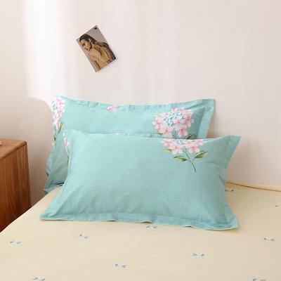 2020新款全棉印花单品枕套 48cmX74cm/对 绣球花-绿